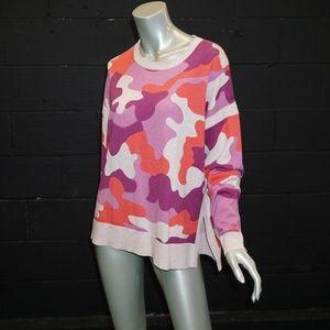LISA TODD purple coral CAMO Sweater Coton Cashmere